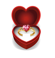 Pink heart gold ring vector image