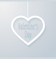 valentines day card with hanging heart vector image