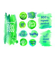 veggi food green label vector image