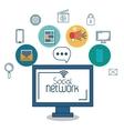 monitor social network icon media design vector image