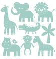 cartoon animals set vector image vector image