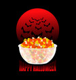 Happy halloween bowl and candy corn moon and bat vector image