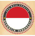 Vintage label cards of Indonesia flag vector image