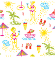 Funny beach seamless pattern hand drawn design vector image vector image
