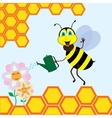 Bee watering the flowers vector image