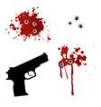 Gun with bullet holes and blood vector image