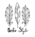 Hand drawn bird black feathers isolated on white vector image