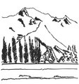 hand drawn black and white mountain landscape vector image