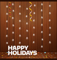 happy holidays greeting card lighting garland vector image