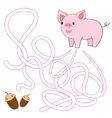 Labyrinth maze find a way pig vector image