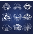 Mining Industry Monochrome Emblems vector image