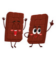 two funny chocolate bar characters one jumping vector image