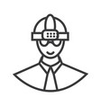 worker with helmet line icon sign vector image