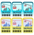 Set of skipass template design vector image