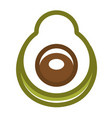 avocado half with seed in graphic design vector image