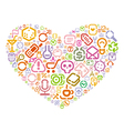 Stencil icons in heart shape vector image vector image