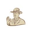 Businessman Fedora Hat Vintage Etching vector image
