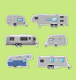 camping trailer isolated labels set vector image
