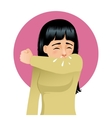 Girl sneezing in elbow image vector image
