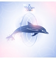 Graphic dolphin jumping through a hoop vector image