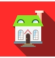 Green roof house icon flat style vector image