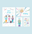 happy birthday cards set collection of cartoon vector image