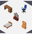 isometric furnishing set of drawer office vector image