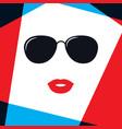model women face in fashion sunglasses vector image