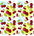 seamless pattern cherry fruits summer ornament vector image