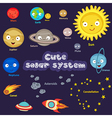 set of cute solar system vector image
