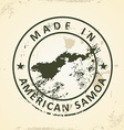 Stamp with map of American Samoa vector image