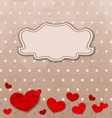 Vintage card with set crumpled paper hearts vector image