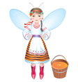girl bee with a bucket of honey vector image