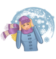 Young woman in snowstorm vector image vector image