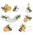 cartoon bees with honeycomb vector image