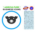 pig head rounded icon with set vector image