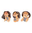 woman having flu - fatigue runny nose cough vector image
