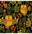 Seamless pattern with fashionable retro owls vector image