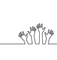 black line of hands vector image vector image