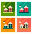 Concept flat icons with long shadow money house vector image