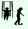 child and the child on a swing with the ball vector image
