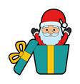 giftbox with cute santa claus character vector image