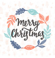 merry christmas greeting card hand lettering vector image