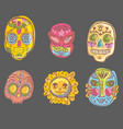 mexico collection skulls and masks vector image