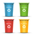 multicolored recycling bins 3d realistic vector image