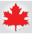 sticker - stylized red maple leaf vector image