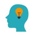 silhouette head idea bulb blue isolated vector image