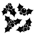 Set of Christmas holly leaves vector image