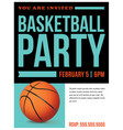 basketball party flyer invitation vector image vector image