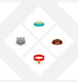 flat icon pets set of kitty collar dog food vector image vector image